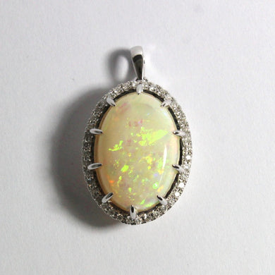 18ct White Gold 10.57ct Solid White Opal and Diamond Pendant (V)