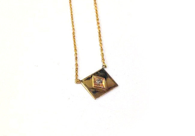 Gold Envelope Pendant with Diamond