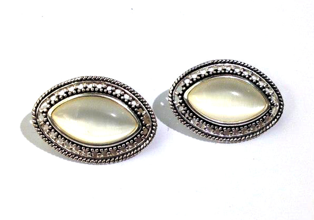 Lucite Pearlescent Silvertone Earrings