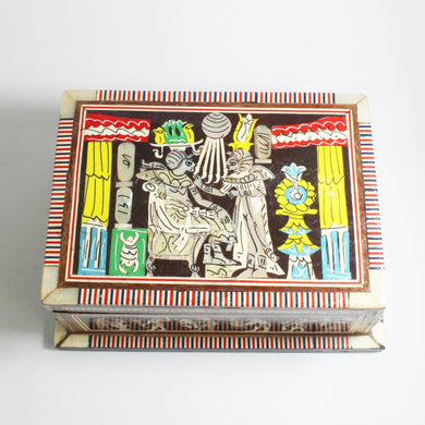 Vintage Egyptian Revival Mother of Pearl Inlay Teak Jewellery Box
