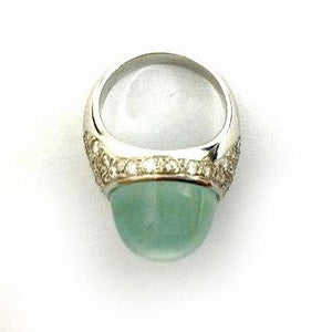Cabochon Aquamarine and Pave Set Diamond Dress Ring