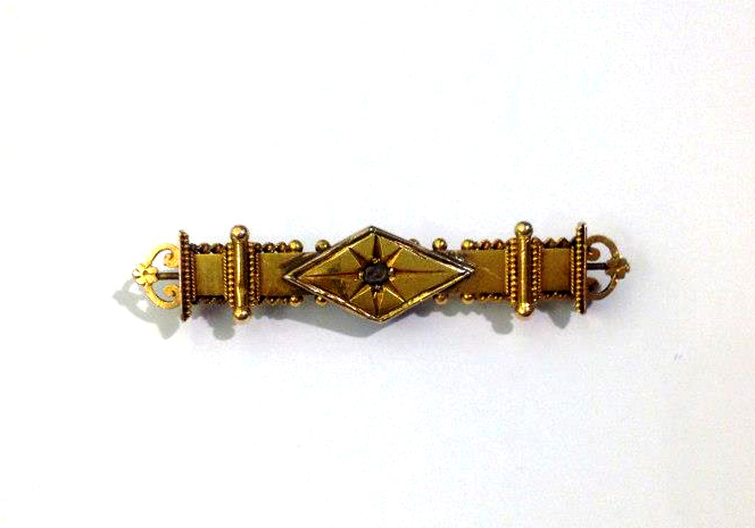 Victorian Rough Cut Diamond and Gold Brooch