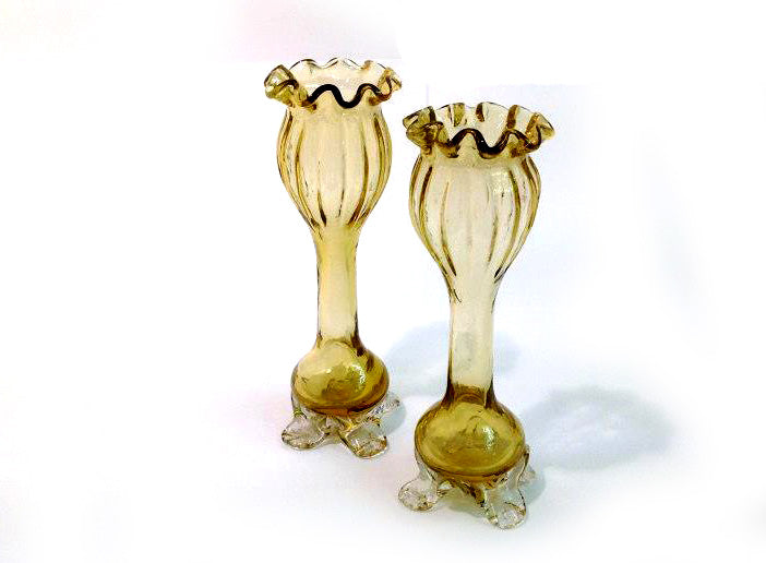 Victorian Green Fluted and Footed Bud Vases