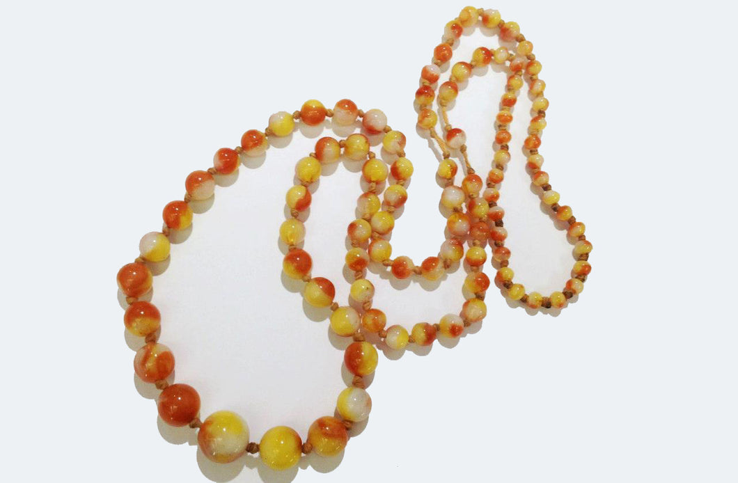 Vintage Sunset Glass Graduated Necklace