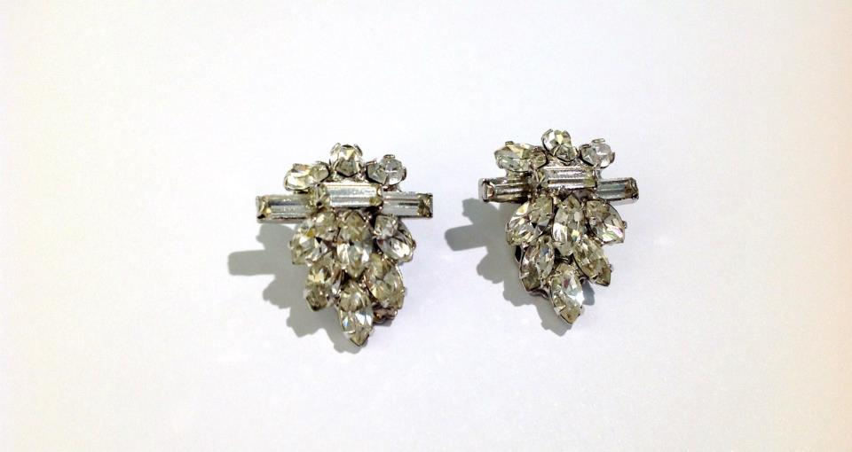 original 1950s czech foilbacked crystal clipons