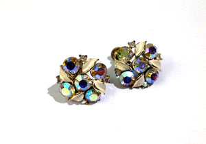Vintage Earrings with Foiled Back Crystal in Brass