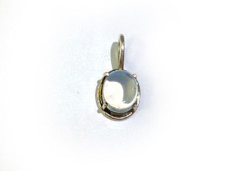 Small Oval Natural Moonstone Pendant - Blue Shimmer