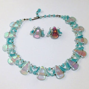 Blue Opalescent Glass Necklace and Earring Set
