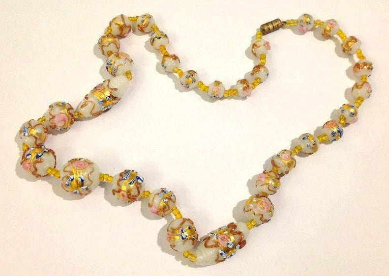 'Wedding Cake' Pink Yellow Murano Bead 1930's Necklace