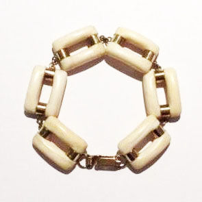 Vintage 9ct Yellow Gold Ivory Link Bracelet