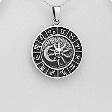 Sterling Silver Sun and Moon Zodiac Medallion Pendant
