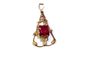 Vintage Red Paste Rhinestone Pendant