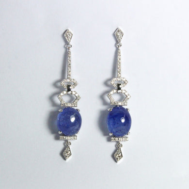 9ct White Gold 26.40ct Cabochon Tanzanite and Diamond Stud Drop Earrings