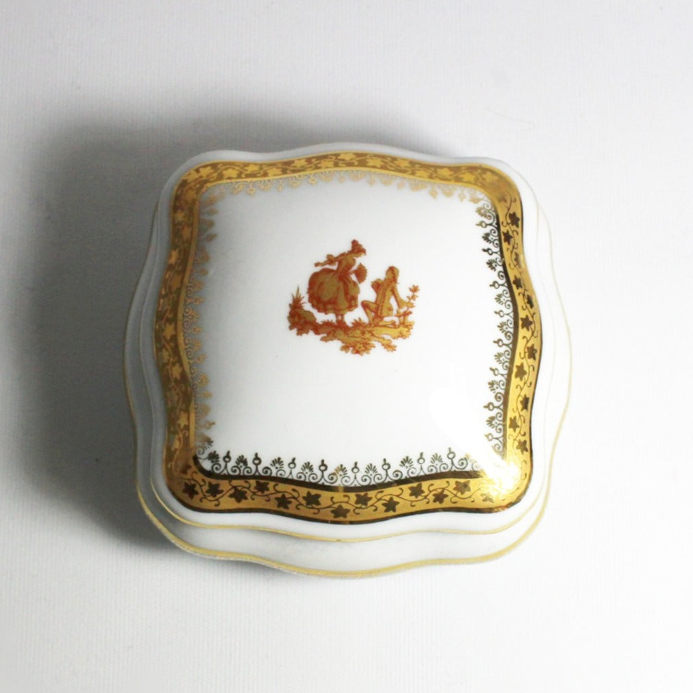 Vintage Limoge White and 22ct Gold Porcelain Jewellery Box
