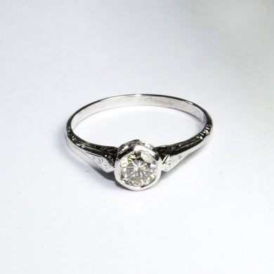 Antique 9ct White Gold and Platinum Engraved Diamond Engagement Ring