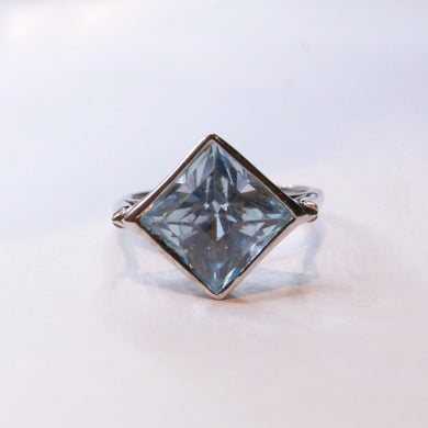 9ct White Gold Aquamarine Dress Ring