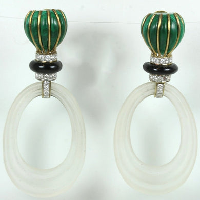 14ct Gold Malachite, Onyx, Diamond, Enamel And Rock Crystal Clip on Earrings