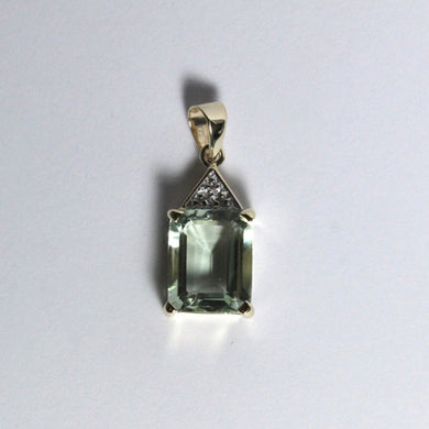 9ct Yellow Gold Aquamarine and Diamond Pendant
