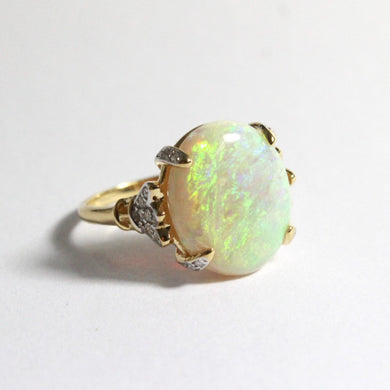 18ct Yellow Gold 6.75ct Solid White Opal and Diamond Dress Ring