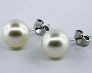 Sterling Silver White Cultured Pearl Stud Earrings