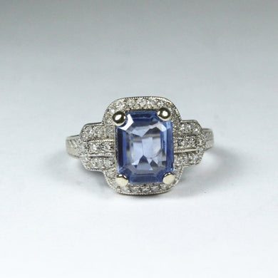 9ct White Gold 2.20ct Sapphire and Diamond Dress Ring