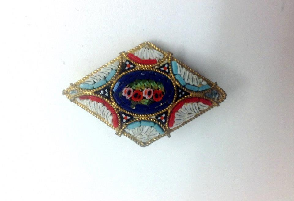 Handmade Micro-Mosaic Diamond Shaped Brooch