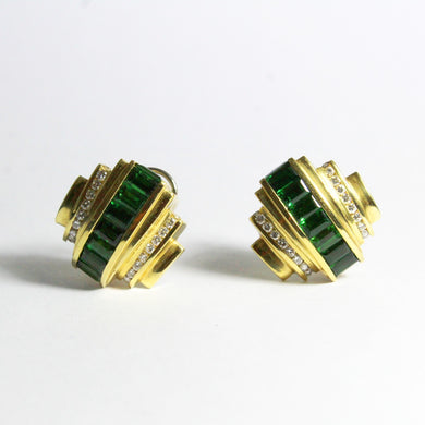 Vintage 18ct Yellow Gold Chrome Green Tourmaline and Diamond Earrings