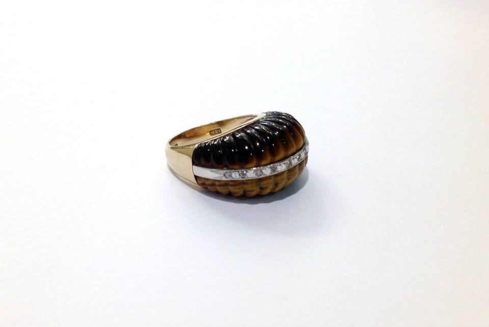 Vintage Tiger's Eye and Diamond Cocktail Ring