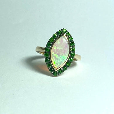 9ct Gold, Solid Opal, Diopside