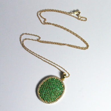 Vintage 14ct Yellow Gold Emerald and Diamond Pendant