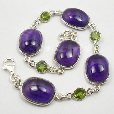Sterling Silver Amethyst and Peridot Bracelet
