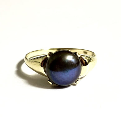 Vintage 9ct Yellow Gold Black Tahitian Pearl Ring