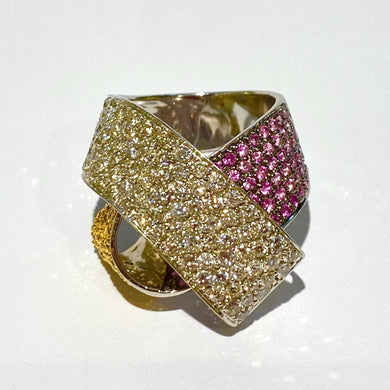 18ct White Gold Diamond, Yellow and Pink Sapphire Ribbon Cocktail Ring