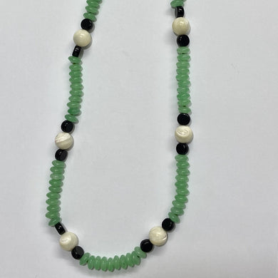 Sterling Silver Chrysoprase, Black Onyx and Mother of Pearl Beaded Necklace