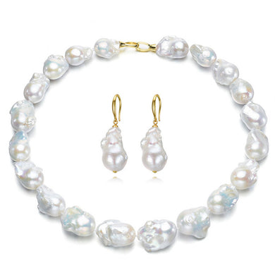 Sterling Silver Gold Plate Baroque Pearl Earring And Necklace Set