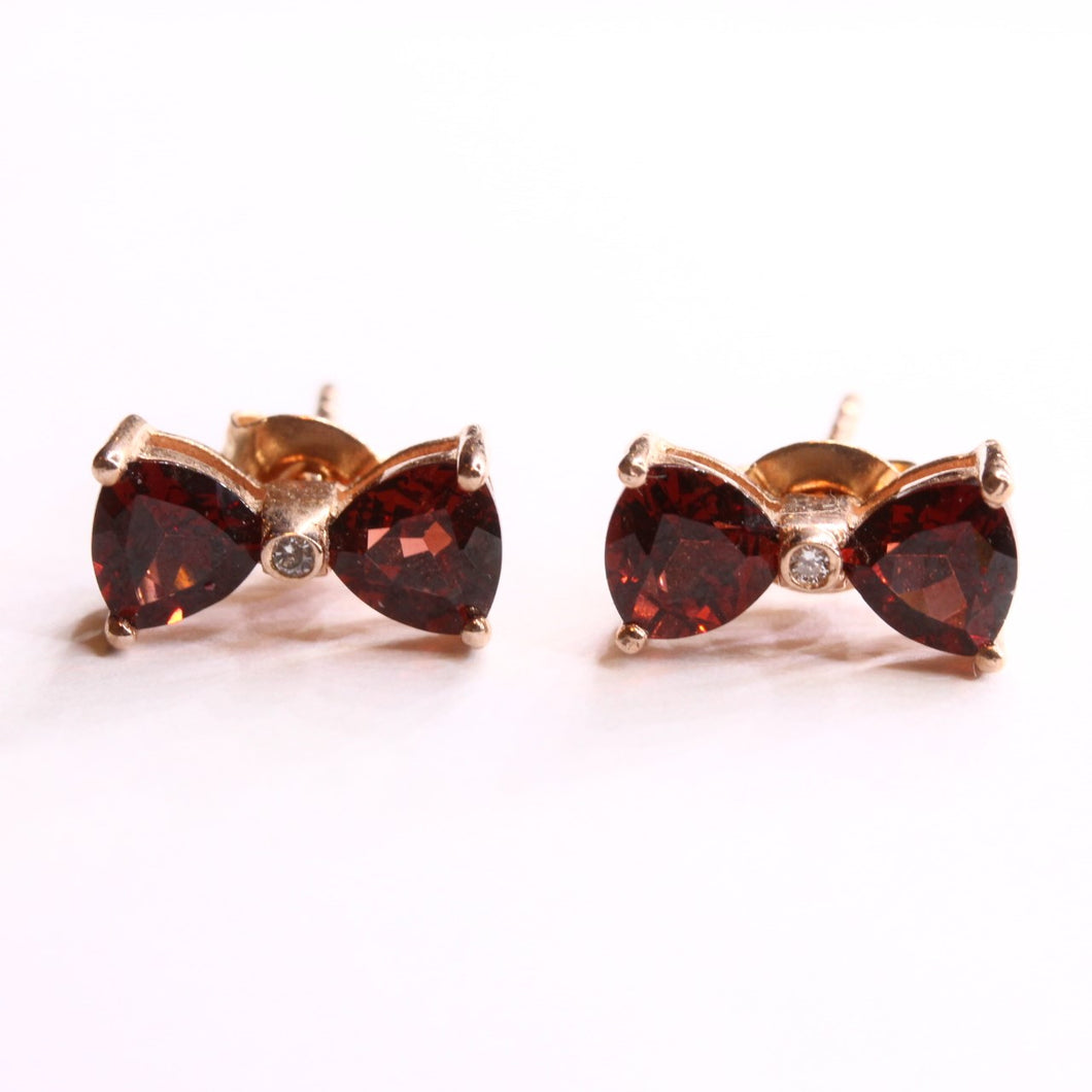 Sterling Silver Rose Gold Plated Bow Shaped Studs