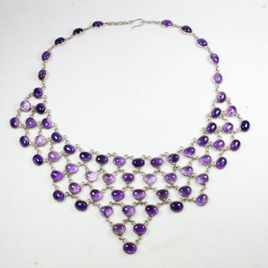 Elaborate Sterling Silver Cabochon Amethyst Necklace