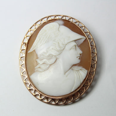 9ct Rose Gold Hermes Conch Shell Cameo Brooch