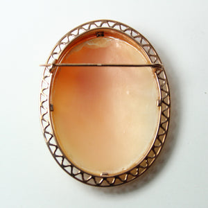 9ct Rose Gold Grecian Female Conch Shell Cameo Brooch