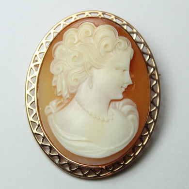 9ct Rose Gold Victorian Female Conch Shell Cameo Brooch