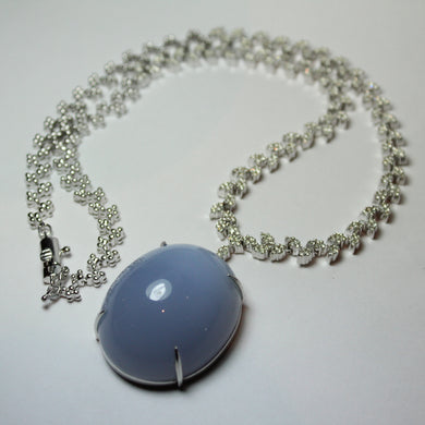 14ct White Gold Diamond set with  110ct Lavender Chalcedony Cabochon Pendant Necklace