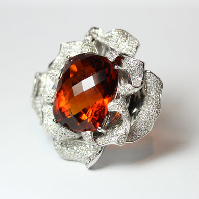 9ct White Gold 32ct Imperial Topaz and Diamond Floral Cocktail Ring