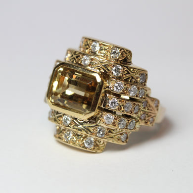 9ct Yellow Gold Yellow Beryl and Diamond Dress Ring