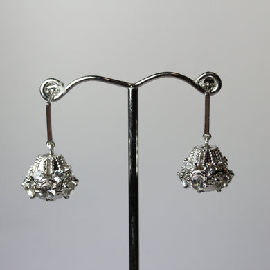 Art Deco Style 9ct White Gold White Sapphire Stud Drop Earrings