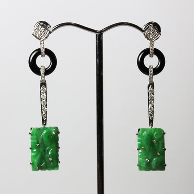 Art Deco Style 9ct White Gold, Diamond, Onyx and Carved Jade Drop Earrings