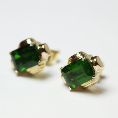 Art Deco Style 18ct Gold Chrome Diopside Stud Earrings