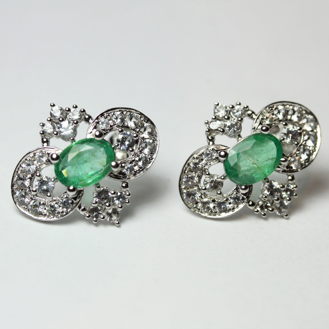 9ct White Gold Diamond and Emerald Stud Earrings