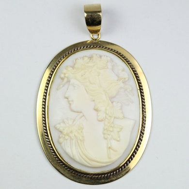 18ct Yellow Gold White Conch Shell Cameo Pendant