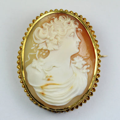 18ct Yellow Gold Conch Shell Cameo Brooch/ Pendant