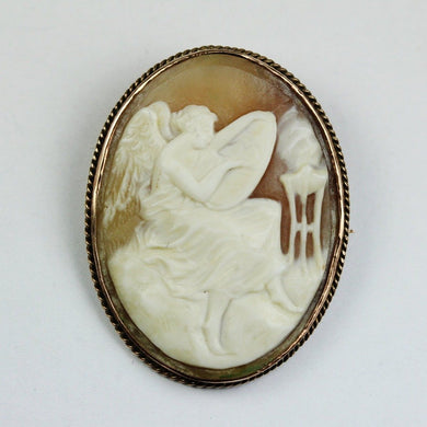 Antique 9ct Rose Gold Conch Shell Cameo Brooch